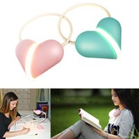 Wholesale Heart Shaped Usbs - Portable Heart Shape LED Night Lights Dimmable USB Charging Table Lamps Cute Couple Lights LED Reading Lamp Desk handset gifts