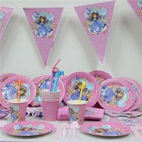 Wholesale Cup Party Supplies - Wholesale- 61pcs lot cartoon sofia princess paper plate cup napkin banner kids birthday party decoration festival supplies favor 20 people