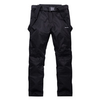 Wholesale Trousers Suspenders Women - Wholesale- Unisex Waterproof snowboard pants men women ski trousers Breathable Warm mens snow pant for mountain skiing suspenders plus size