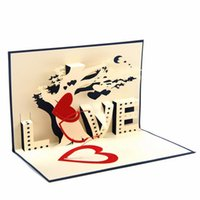 Wholesale Laser Cutting Patterns - Wholesale- 3D Invitation Card Party Wedding Envelope Romantic Laser Cutting Delicate Carved Pattern Lover Forever Greeting Card