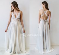 Wholesale Open Back V Neck Lace - Bohemain Beach A-line Wedding Dresses 2017 Deep V-Neck Lace Open Back Long Chiffon Vintage Garden Court Train Bridal Gowns Custom Made