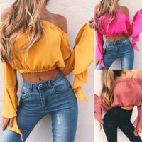 Wholesale Hollow Shoulder Strap Summer Top - 2017 Summer T shirt Women Off Shoulder V-neck T-shirts Crinkle White Tops Casual Split Spaghetti Strap Tshirt