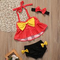 Wholesale Girls Swim Polka Dot - Fashion New Girls Swimwear Polka Dots Bow Bikini Sets Bow Tops + Bowknot Shorts + Headband 3pcs Suits Baby Bathing Beach Swim Set A7004
