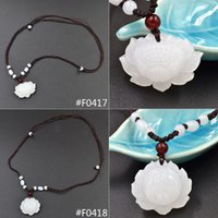 Wholesale Carved Bead Necklace - Wholesale-Hand Carved Natural White Jade Lotus Pendant Beads Decoration Woven Necklace