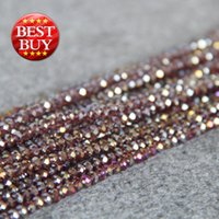 Wholesale Purple Jade Faceted - New Necklace&Bracelet Accessories 3X4mm Faceted Purple AB+ colorful glass Crystal stones Jasper Jade beads loose 15inch Jewelry