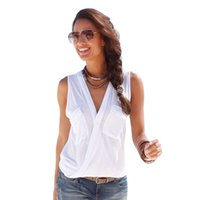 Wholesale Sleeveless Tunics Tops - Sexy Summer Female Blouses Deep V-neck Sleeveless Solid Tops Fashion Button Pockets Beach Blouse Tunic Casual Blusas Vest Femme