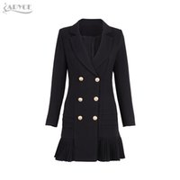 Wholesale trench coats woman skirt - Wholesale- Adyce 2017 New Women Formal Double Breasted Trench Black Glod Button Full Sleeve Skirt Style Pleated Long Style Women Coat