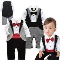 niño infantil caballeros trajes al por mayor-Baby Boy Rompers Recién nacido Cothes Algodón Traje de bebé Esmoquin Mameluco Jumpsuit Caballero Ropa Bowknot para Infant Baby Mamelucos