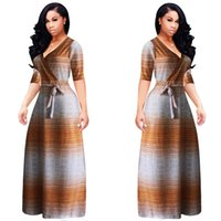 2017 AutumnSummer Sexy Brown Deep V Stripe Neck Langes Kleid Günstige Ballkleider Plus Size Cocktailkleider für Frauen L-5XL