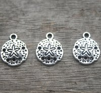30pcs - Sand Dollar Charms, antique argent tibétain argent sable charme pendentifs 12mm