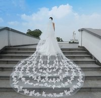 Wholesale Wholesale Cathedral Wedding Veils - White Lace Appliques Wedding Veils 3M Long Cathedral Length Tulle One Layer Bridal Accessories Custom Made Veil With Comb