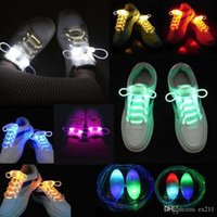 30pcs (15 paires) 2017 COOL Multicolors Light Up LED Shoelaces Nouvelle mode Chaussures Flash Laces Disco Party Glowing Night Chaussures Chaînes HG23 XE46