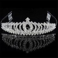 coronas del desfile de calidad al por mayor-Vintage Crystal Crown Tiara con Peine Accesorios para el cabello nupcial de alta calidad para la boda Quinceañera Tiaras Coronas Concurso Rhinestone Hairband