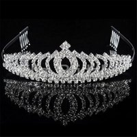 Wholesale Trendy Quinceanera - Vintage Crystal Crown Tiara with Comb High Quality Bridal Hair Accessories For Wedding Quinceanera Tiaras Crowns Pageant Rhinestone Hairband