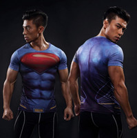 Wholesale Men Wet Shorts - Short-sleeved sports tights men running fitness quick-drying wet clothes summer high elastic 3D color printing super hero shirt