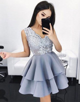 Wholesale Girl Dress Layer - 2017 New Arrival Elegant V Neck Lace Homecoming Dresses Layers Sleeveless A line Short Cocktail Dresses Girls Party Gowns Mini