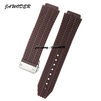 JAWODER Watchband 24 25mm Men Stainless Steel Deployment Buckle Brown Diving Silicone Rubber Watch Band Strap para HUB Big Bang