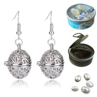Wholesale Leaf Pattern Pendants - Fashion Oval Pearl Cage Pendant Earrings Hollow Four Leaf Clover Pattern Locket Dangle Earrings With Oyster Pearl Women Jewelry