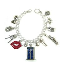 Wholesale matt chain - 12pcs Doctor Who inspired bracelet 11th Doctor tardis Charm Bracelet silver tone Matt Smith Charms bracelet