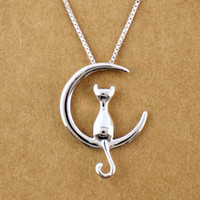 Wholesale Pure Gold Necklace Chain - 5pcs lot 925 Sterling Silver Lovely Cat on the Gold&Silver Moon Charm Pendant Necklace Chain Pure Silver Jewelry Statement for Women Bijoux
