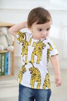 Wholesale T Shirt Fashion Tiger Girl - Boys Girls Kids Cotton Short Shirts Tees Children Baby Tiger Design T-shirts Tops Tees Short Sleeve Clothes Baby Shirts Clothes Babies Shirt