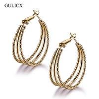 Wholesale wonderful earrings - Wholesale- Fashion New design female earrings wholesale gold plating hollow hoop wonderful earring high quality free shipping E410