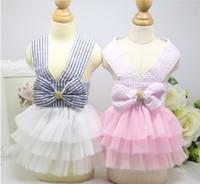 Wholesale Dog Veil Dress - D24 Sweety Pet Princess dress Dog striped Sling veil Spring Summer Pet dog skirt clothes Costume Apparel
