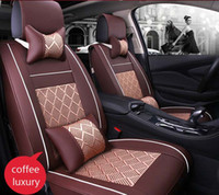 estofamento de couro completo venda por atacado-Auto Tampa de Assento Do Carro conjuntos completos Universal Fit 5 assento SUV sedans frente / back tapetes de assento interior do carro imitação de couro + gelo seda
