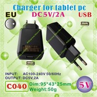 Wholesale Sanei Usb - Wholesale-2pcs [C040] USB   5V,2A   EU power plug (Europe Standard) Charger or Power adaptor for tablet pc;onda,ainol,cube,sanei