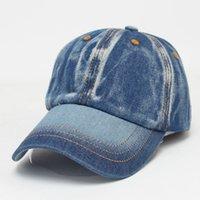 ingrosso visiere vuote-All'ingrosso- 2016 Retro Jeans Berretto da baseball Uomo Donna Snapback Hat olf Cappello regolabile Visiera Bone Denim Blank Gorras Casquette Plain Hat