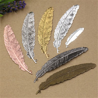 Wholesale Brass Pendant Charms - Wholesale 10 Pcs 24*110MM 12*43MM 6 Colors Small Bookmark Feather Pendant Vintage Style Brass Material DIY Pendant Charms