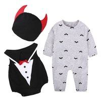 Wholesale Infant Baby Hat Pattern - Baby Clothes Halloween Cosplay Boys Romper With Hat Long Sleeve Cotton Bat Pattern Infant Boys Clothing