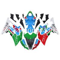 ingrosso yamaha r6 fairings kit-3 carenature nuove per Yamaha YZF-R6 YZF600 R6 08 15 R6 2008-2015 Kit carenatura moto plastica ABS bianco rosso stile bianco vv12