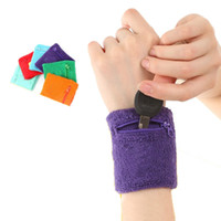 Wholesale wrap wallet - Wholesale- 1 Pcs Outdoor Running Cycling Wrist Band Support Wrustband Wallet Safe Storage Wallet Zipper Wraps Sport Strap Bracers Wrister