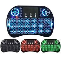 ratón de color al por mayor-Mini teclado i8 retroiluminado 2.4G inalámbrico Fly Air Mouse con retroiluminación Touchpad 3 colores Controlers remotos para MXQ pro X96 TV Box