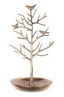 Wholesale Antique Jewelry Stand Holder - Antique Tree Stand Birds Jewelry Display Necklace Earring Bracelet Holder Organizer Rack Tower Silver Red Copper