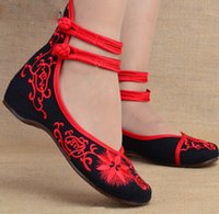Wholesale Chinese Wedges Shoes - Fashion Women Shoes Old Beijing Mary Jane Flats Casual Shoes Chinese Embroidered Cloth Woman Ballerina Shoes Plus Size 41