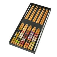 Wholesale Wholesale Japanese Chopsticks - Wholesale- New 5 Pairs Japanese Natural Bamboo With Box Tableware Chopsticks Handmade Wooden Durable Kitchen Utensils