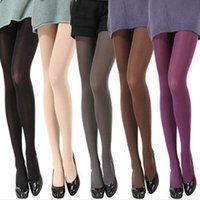 Atacado-Mulheres Moda Pure Color 120D Opaque Footed Tights Meias Sexy Pantyhose