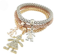 Wholesale Corn Europe - Europe and the United States foreign trade bursts bracelet alloy three - color suit stretch corn chain diamond girls pendant bracelet