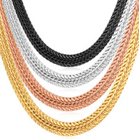 Wholesale Thick Rose Gold Necklace - Men Jewelry Gifts Men's Thick Foxtail Chains 18K Yellow Gold Rose Gold Platinum Plated Choker Necklaces