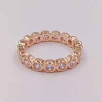 Rose Gold Plated 925 Sterling Silver Ring Rose Fascinación Europea Pandora Style Jewelry Charm Ring Gift 180942CZ