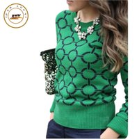 Wholesale Full Neck Necklaces - Wholesale-no necklace! 2016 new autumn and winter sweater full-sleeve casual o-neck sweaters brief women print pullover sueter mujer