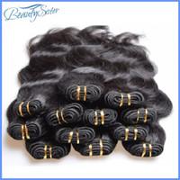 cheveux brésiliens achat en gros de-En gros pas cher 5a brésilienne vague de corps faisceaux de cheveux humains tisse 1kg 20 pièces beaucoup couleur naturelle noire couleur de qualité inférieure cheveux humains 50g / pcs