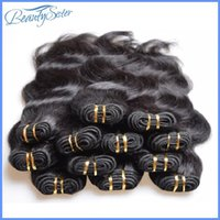 insan saçı örgü renk siyah toptan satış-Toptan ucuz 5a brezilyalı vücut dalga İnsan saç demetleri örgüleri 1 kg 20 adetgrup doğal siyah renk düşük dereceli kaliteli insan saçı 50 g / adet