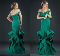 Wholesale Emerald Green Ribbon - Robe De Soiree Rhinestone Emerald Mermaid Long Evening Dresses Ruffles Tiered Prom Gowns Crystal Black Formal Party Dress 2017