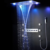 """Wholesale Modern Shower Faucets - 31"""" Luxury LED Shower Faucets Set Modern Large SUS304 Thermostatic Mixer Waterfall Rainfall Bathroom Led Ceiling Shower Head 600x800mm"""