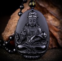 Wholesale Obsidian Buddha Pendant - Wholesale- Natural Black Obsidian Carved Ruyi Guanyin Buddha Pendants Fit Fashion Sweater Necklace Jewelry Making