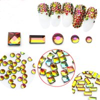 Wholesale Shiny Flat Stones - New Super Shiny Colorful nail flashing multicolored diamond flame drill rock and stone drill magic colorful AB Nail Art Rhinestones Flat Bac