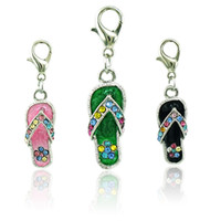 Fashion Floating Charms With Lobster Clasp Dangle strass Enamel Slipper DIY Charms pour bijoux Accessoires